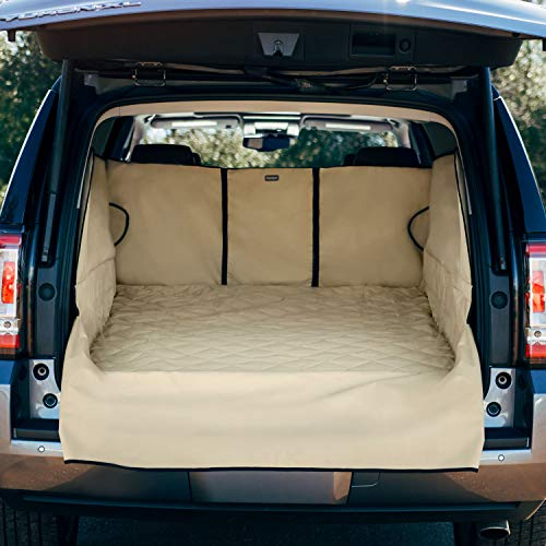 FrontPet Extra Wide and Extra Long Quilted Dog Cargo Cover for SUV Universal Fit for Any Animal. Durable Liner Covers and Protects Your Vehicle, Extended Width, XXL, Tan