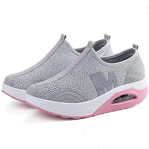 Le Donne Enllerviid Modellano Le Scarpe Da Passeggio In Mesh Scivolano Sulle Sneakers Toniche Fitness Platform 269 Grigie