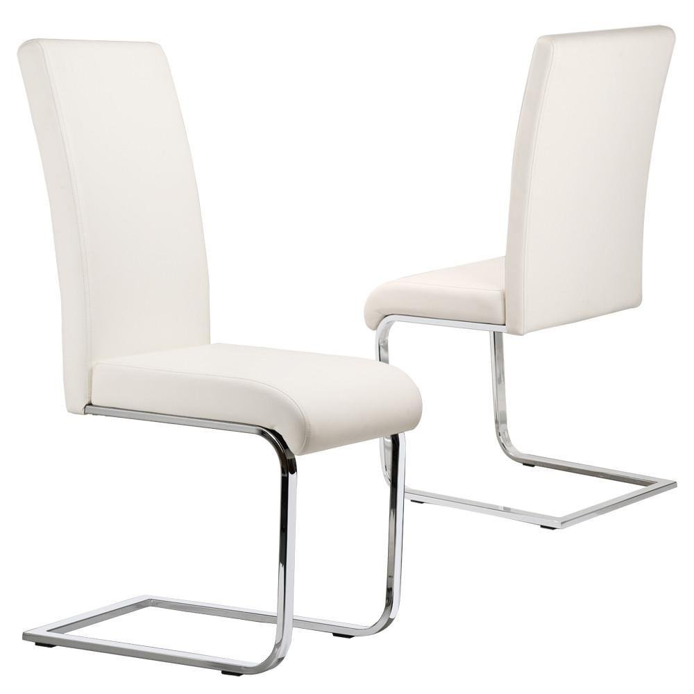 Popamazing set of 2 stylish white durable faux leather dining chair with chrome legs and high back kitchen dining room furniture amazon co uk kitchen