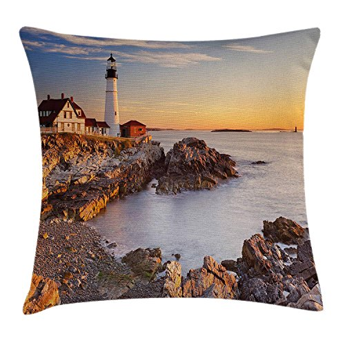 Queolszi United States Throw Pillow Cushion Cover, Cape Elizabeth Maine River Portland Lighthouse Sunrise USA Coast Scenery, Decorative Square Accent Pillow Case, 12 X 12 Inches, Light Blue Tan -