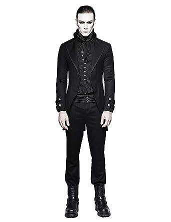 34053fe44518 Punk Rave Herren Schwarz Gothic Gentleman Steampunk Fake Zweiteiliger Jacken  Mantel  Amazon.de  Bekleidung