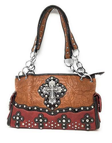 strass cuir multiples à femme Sac en Premium pour daim couleurs Brown en et en main Red Western Cross nIxxFg1wq
