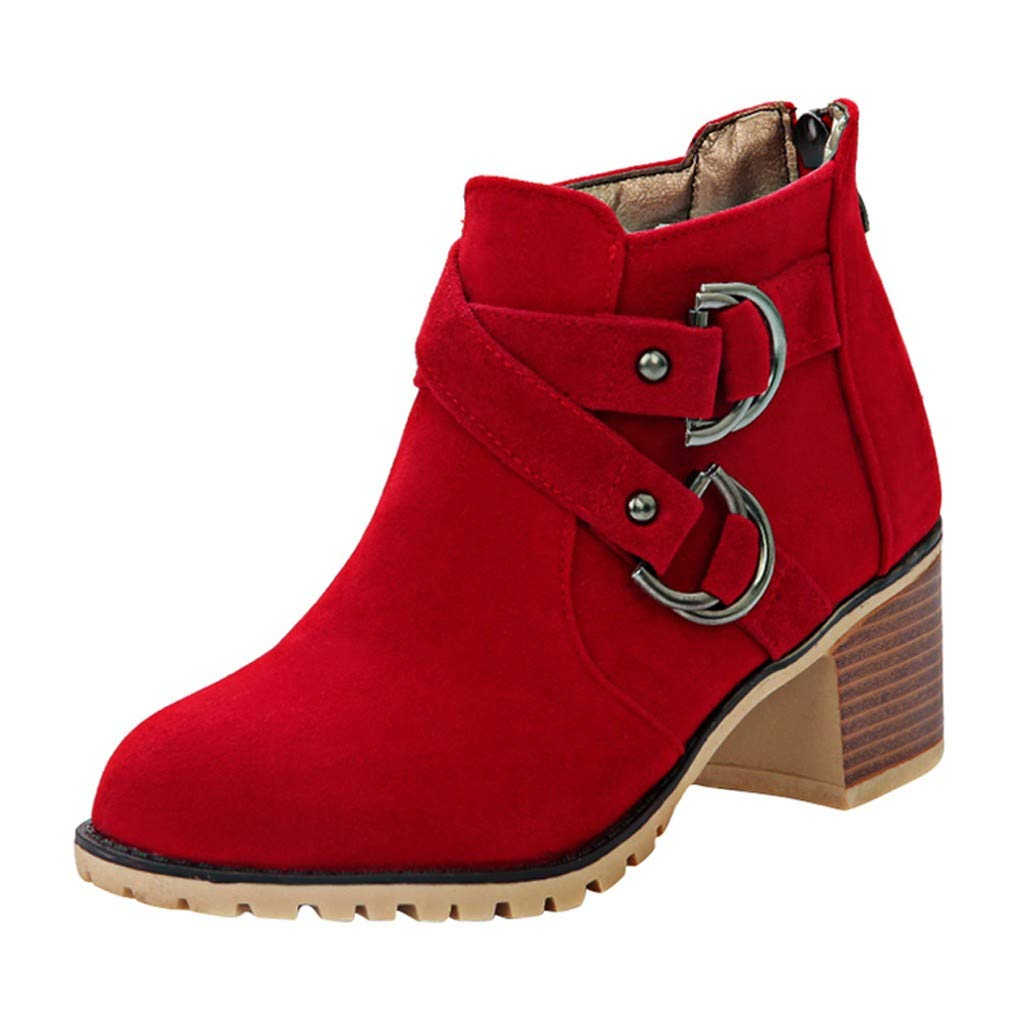 Women Stacked Block Heel Ankle Boots | Ladies Cross Buckles Straps Waterproof Suede Booties | Winter Pointed Toe Slip Resistant Shoes with Back Zip by Leadmall-Boot