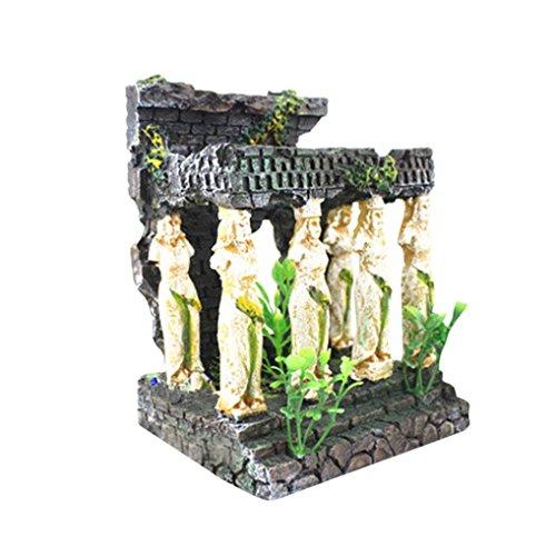 InKach Aquarium Decoration, Roman Temple Ruins Aquarium Fish Tank Hiding Cave Ornament (A)