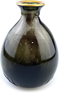 YILE Glass Vase for Flowers, Rounded Small Glass Vase for Home Decor Gift Centerpieces Events (Brown & Gold)