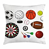 Lunarable Boy's Room Throw Pillow Cushion Cover, Variety of Sports Icons Different Games Balls Dartboard Hockey Puck and Pins, Decorative Square Accent Pillow Case, 18 X 18 inches, Multicolor