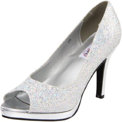 (Dyeables Women's Sari Platform Pump,Silver Glitter,7.5 B US)