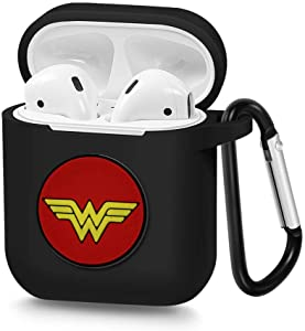 Airpods Case, Portable Silicone AirPods Charging Case with Carabiner Compatible with Apple Airpods Superhero Logo (Wonder Woman)
