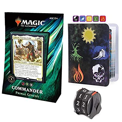 Totem World Commander 2020 Primal Genesis Deck with Life Counter Spindown and Mini Binder - MTG Holiday Bundle Box Gift Set: Toys & Games