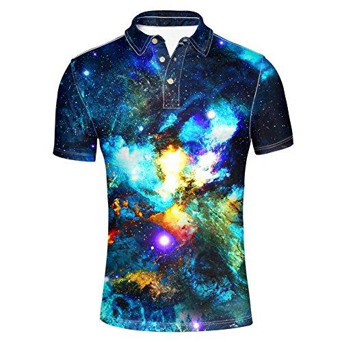 HUGS IDEA Galaxy Star Stylish Mens Slim Fit Short Sleeves Polos Shirt T-Shirt Tee Tops