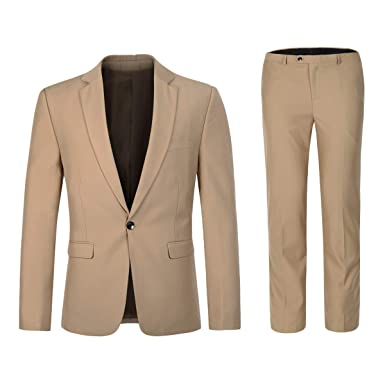 9fd28534261 YFFUSHI Mens Slim Fit 2 Piece Suits One Button Multi-Color Wedding Party  Tuxedo Beige
