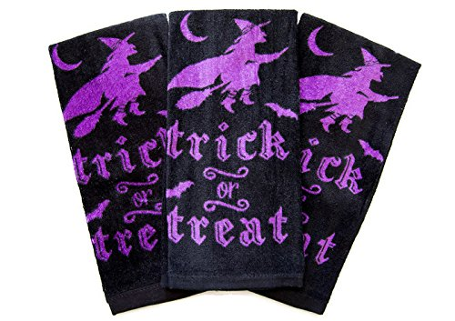 Halloween Themed Dish Cloths 100% Cotton Set Of 3 Towels (Black Trick or (Halloween Themed Dishes)