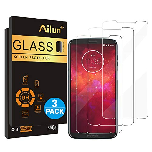 Coverage Full Seam - Ailun Screen Protector Compatible Moto Z3 Z3 Play 3 Pack Tempered Glass 9H Hardness Ultra Clear Anti Scratch Fingerprint Oil Stain Coating Case Friendly
