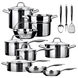 Duxtop SSIB-17 Professional 17 piece Stainless Steel Induction Cookware Set - Impact-bonded Technology