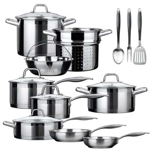 Duxtop SSIB-17 Professional 17 piece Stainless Steel Induction Cookware Set, Impact-bonded Technology. -
