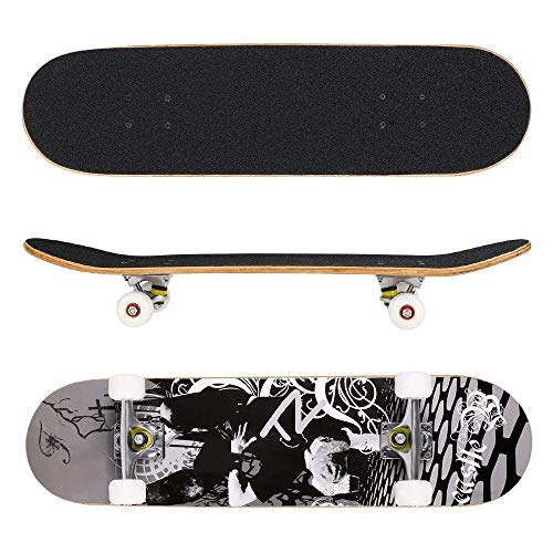 Anfan 31 Pro Complete Skateboard, Adult Tricks Skate Board with 9 Layer Canadian Maple Wood, Double Kick Tail for Beginner Kids Boys Girls 5 Up Years Old US Stock