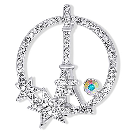 BEICHUANG Rose Gold Silver Plated Crystal Circle Tower Shining Lucky Star Brooch Pin Five-point Star Jeweley (silver)