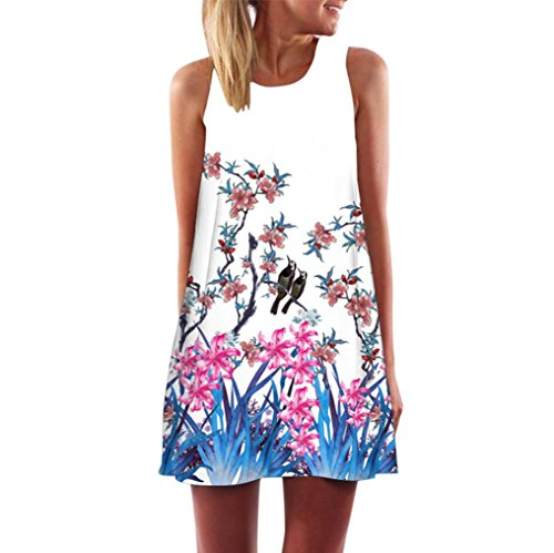 Clearance! Ruhiku GW Womens Dress Summer O-Neck Boho Sleeveless Floral Printed Beach Mini Dress Casual T-Shirt Short Dress (XXL, C1)