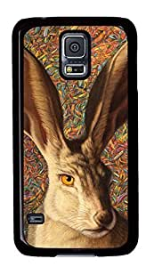 Diy Fashion Case for Samsung Galaxy S5,Black Plastic Case Shell for Samsung Galaxy S5 i9600 with Cool Rabbit