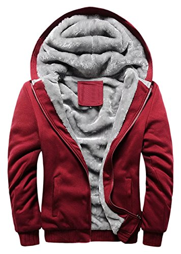 Cameinic Men's Thick Warm Padded Lined Fleece Hooded Sweatshirt Coat Jacket Red