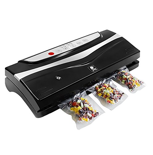 Synteam Vacuum Sealer, Automatic Food Sealers Machine, with Starter Bags & Roll (HC1516, Black)