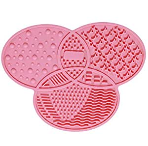 Silicone Makeup Brush Cleaner Pad Washing Scrubber Board Cleaning Mat Hand Beauty Tool Silicone Fashion Egg Cleaning Mat Pink