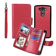 Wallet Case for LG G3, xhorizon TM SR Premium Leather Folio Case Wallet Magnetic Detachable Purse Multiple Card Slots Case Cover for LG G3 -Red