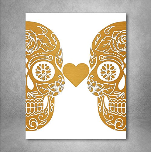 Gold Foil Art Print - Sugar Skull Love With Flowers Gold Foil Design 8x10 inches