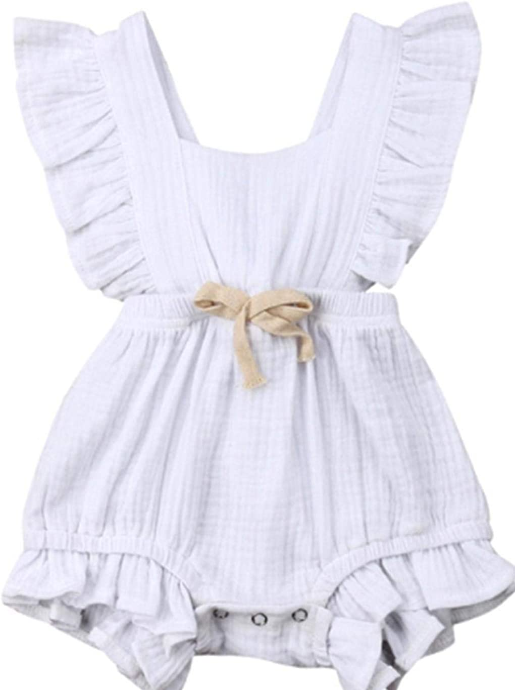 sasaply New Baby Girls Bodysuits Newborn Floral Ruffle Climbing Romper Rompers