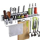 ZHUOTOP 40CM Kitchen Good Helper Utensils Aluminum Storage Rack Organizer with Hooks Cups Multi Function Spice Shelp Holder Tools