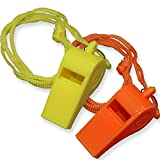 200 Pack Safety Plastic Whistle with Lanyard Orange/Yellow
