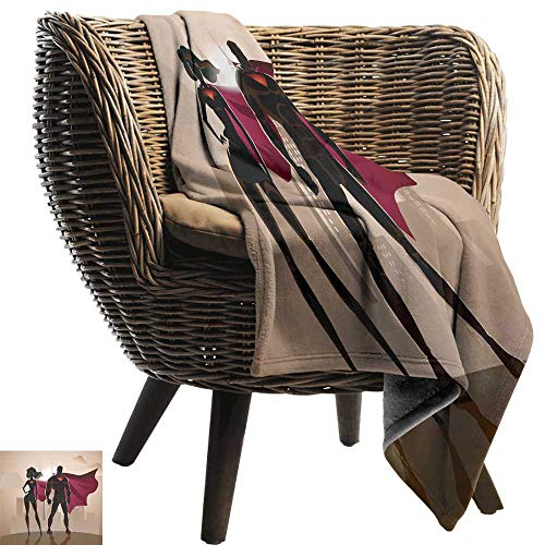 Blanket Custom Photo Superhero Super Woman and Man Heroes in City Solving Crime Hot Couple in Costume Camping Throw,Office wrap 84