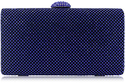 - Dexmay Large Rhinestone Crystal Clutch Evening Bag Women Clutch Purse for Cocktail Prom Party Cobalt blue
