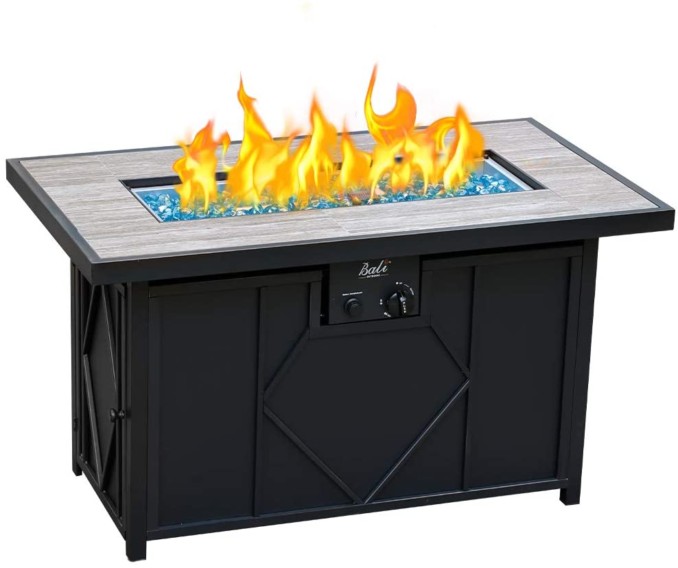 Amazon Com Bali Outdoors Fire Pit Propane Gas Firepit Table Rectangular Tabletop 42in 60 000btu Garden Outdoor