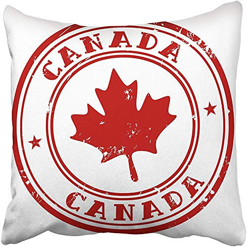 """Throw Pillow Cover 18""""X18"""" Polyester Red Maple Stamp with Name of Canada Leaf Canadian Travel Vintage Rubber Country Seal Decorative Pillowcase Two Sides Deco for Home"""