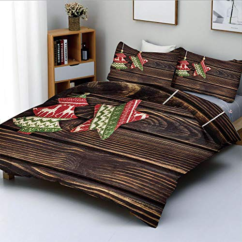Panel Digital 1 Jet Duplex - Duplex Print Duvet Cover Set Queen Size,Retro Pine Tree and Star Shaped Banner on Rustic Panel Shabby Ornaments DesignDecorative 3 Piece Bedding Set with 2 Pillow Sham,Brown Green,Best Gift For Kids &