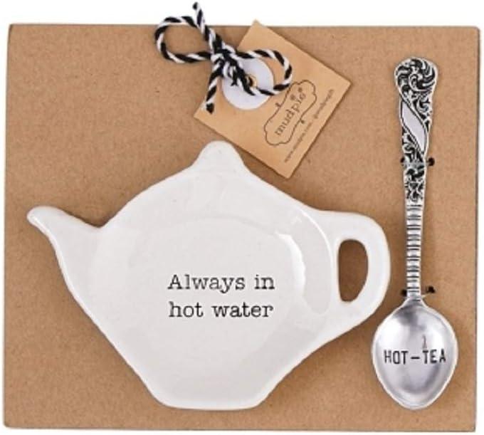 Mud Pie Home Kitchen Circa Tea Time Teapot Tea Bag Spoon Rest Sets 42600444 (Always in hot water)
