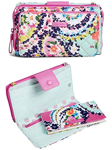 Vera Bradley Iconic Deluxe All Together Crossbody Bag, Signature Cotton (One Size, Wildflower Paisley)