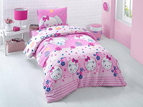 Bekata Bunny, 100% Turkish Cotton Animals Cats Kitty Themed Quilt/Duvet Cover Set, Girls Bedding Linens, Pink, Single/Twin Size, COMFORTER INCLUDED (4 Pcs)