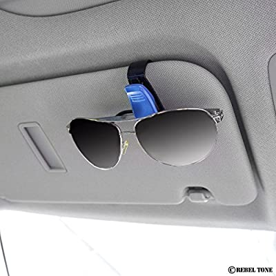 Sun Glasses / Glasses Holders for Car Visors - 5 pack - Multicolor - Perfect Storage Organizer - Easy Clip On System - Also Ideal for Holding Cards - With Rebel Tone Cleaning Cloth and Retail Pack