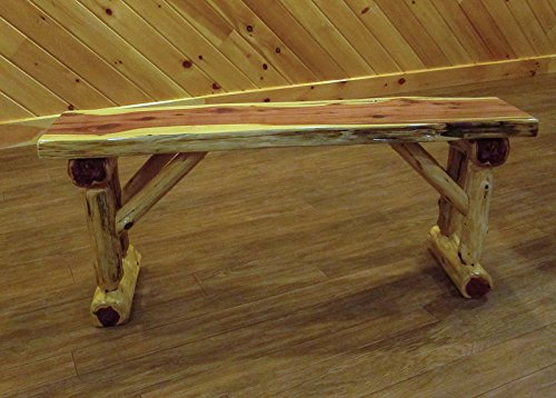 Red Cedar Log Dining/Hall Bench - 3 Foot Long - Amish Made in USA