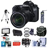 Canon EOS-6D Digital SLR Camera Kit w/EF 24-105mm f/3.5-5.6 IS STM Lens - Bundle w/32GB SDHC, CameraBag, 77mm Filter Kit, Video light, Tripod, Cleaning Kit, Remote Shutter Trigger, Software Package