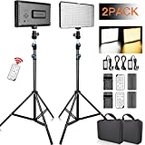 FOSITAN LED Video Light with 2M Stand and 2X [Battery+Charger+Remote] Bi-Color 336 LED 2350lux CRI 96+ Video Lighting Kit for Studio Photography Video Shooting (2 Packs)