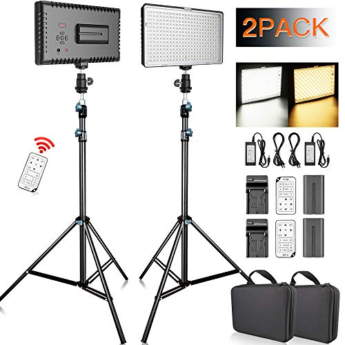 (FOSITAN LED Video Light with 2M Stand and 2X [Battery+Charger+Remote] Bi-Color 336 LED 2350lux CRI 96+ Video Lighting Kit for Studio Photography Video Shooting (2 Packs) )