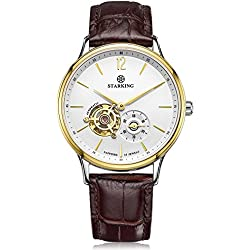 STARKING Men's AM0213GL91 Automatic Skeleton Subdial Gold Tone Stainless Steel Brown Leather Strap Watch