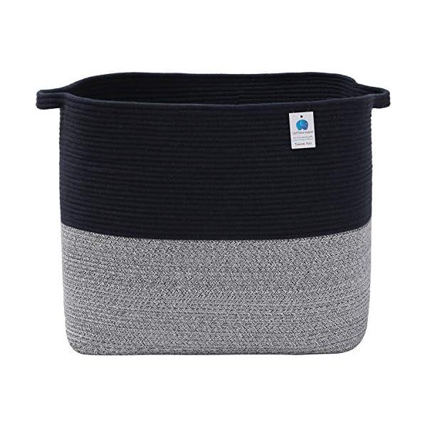 22″x14″x18″ Mega Size Rectangular Extra Large Storage Basket, Cotton Rope Storage Baskets, Woven Laundry Hamper, Toy Storage Bin, for Toys Blanket in Living Room, Baby Nursery, Dark Blue Mix