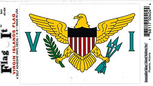 "Virgin Islands Flag Car Decal Sticker [3.5x5"" - White]"