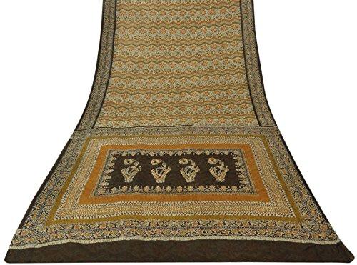 Fabric Batik Silk (Vintage Traditional Indian Clothing Batik Printed Pure Silk Saree Beige Fabric Sari 5 Yds)