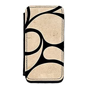 Beige and Black abstract swirls art with subtle pattern Premium Faux PU Leather Case, Protective Hard Cover Flip Case for iPhone 5C by UltraCases