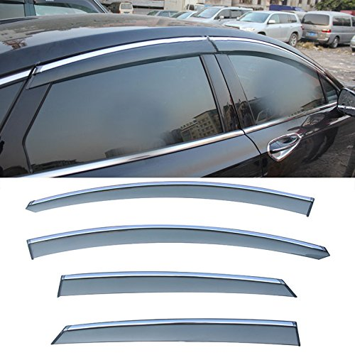 CUSTOM 4pcs Smoke Tint with Chrome Trim PVC Outside Mount Tape On Style PVC Sun Rain Guard Vent Shade Window Visors Fit 13-16 Ford Fusion